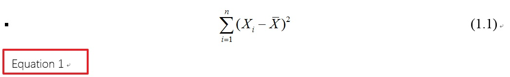 MathType公式后的equation