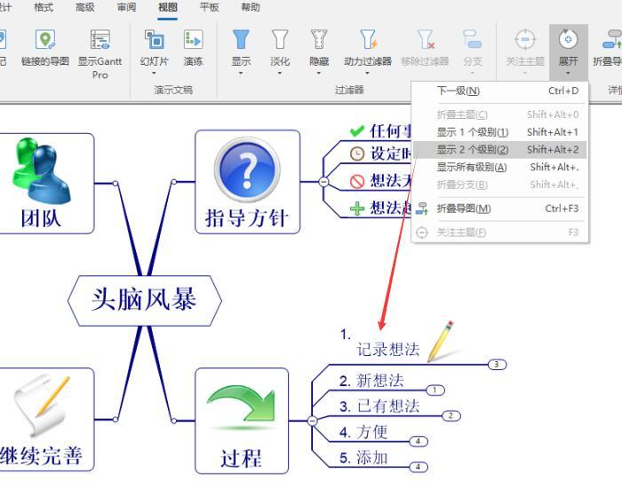 图6:显示2个级别