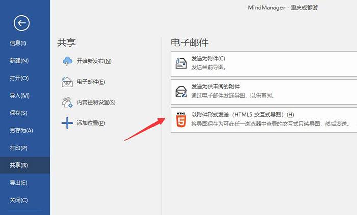 图9:共享为电子邮件和H5附件
