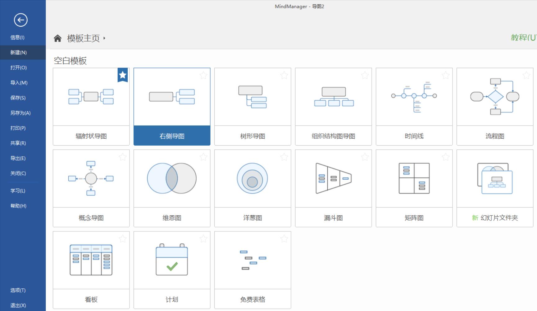 图1:mindmanager空白模板