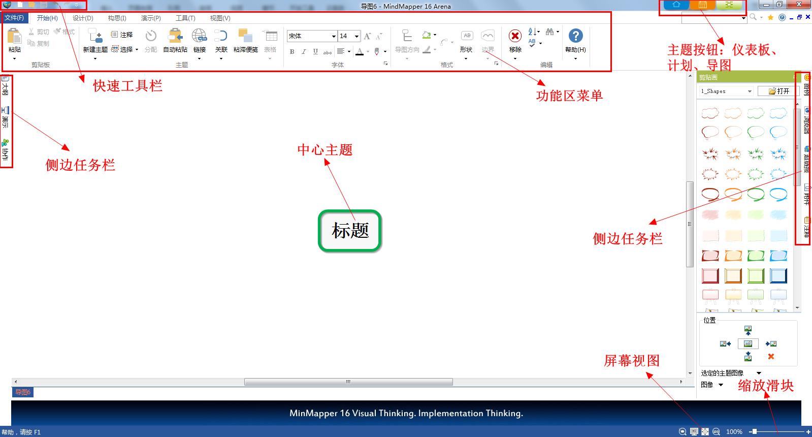 MindMapper主要操作区域