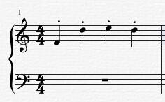 添加了断音记号的音符