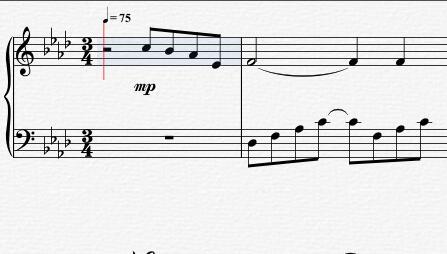 节拍调整之后的曲谱