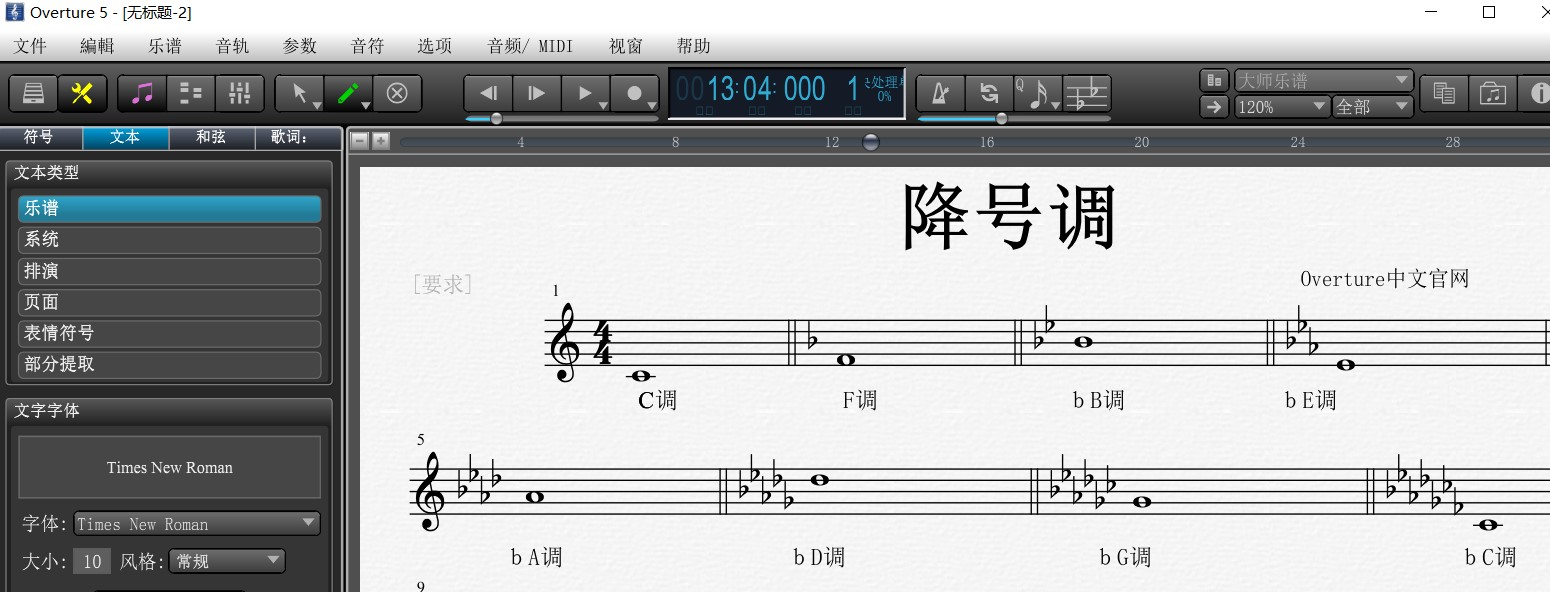 Overture五线谱上的降号调