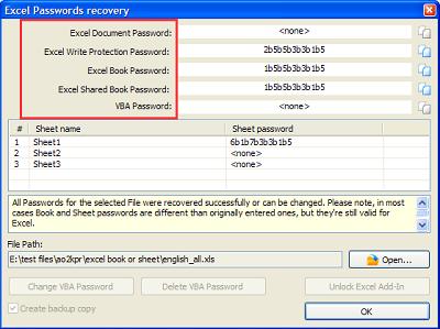 破解Excel文档密码的结果对话框