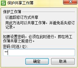 Excel保护共享工作簿对话框