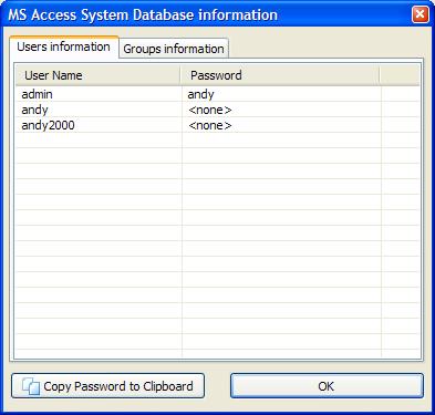 Access用户级安全的个人账户信息