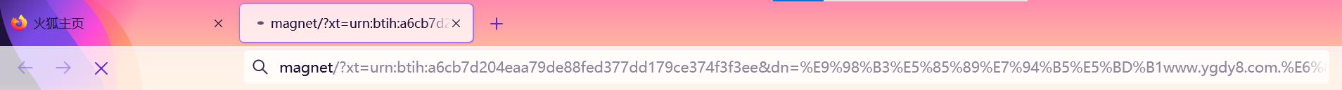 图7:在浏览器的网址一栏获得磁力链接