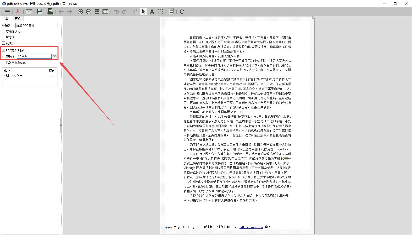 图3:设置PDF加密