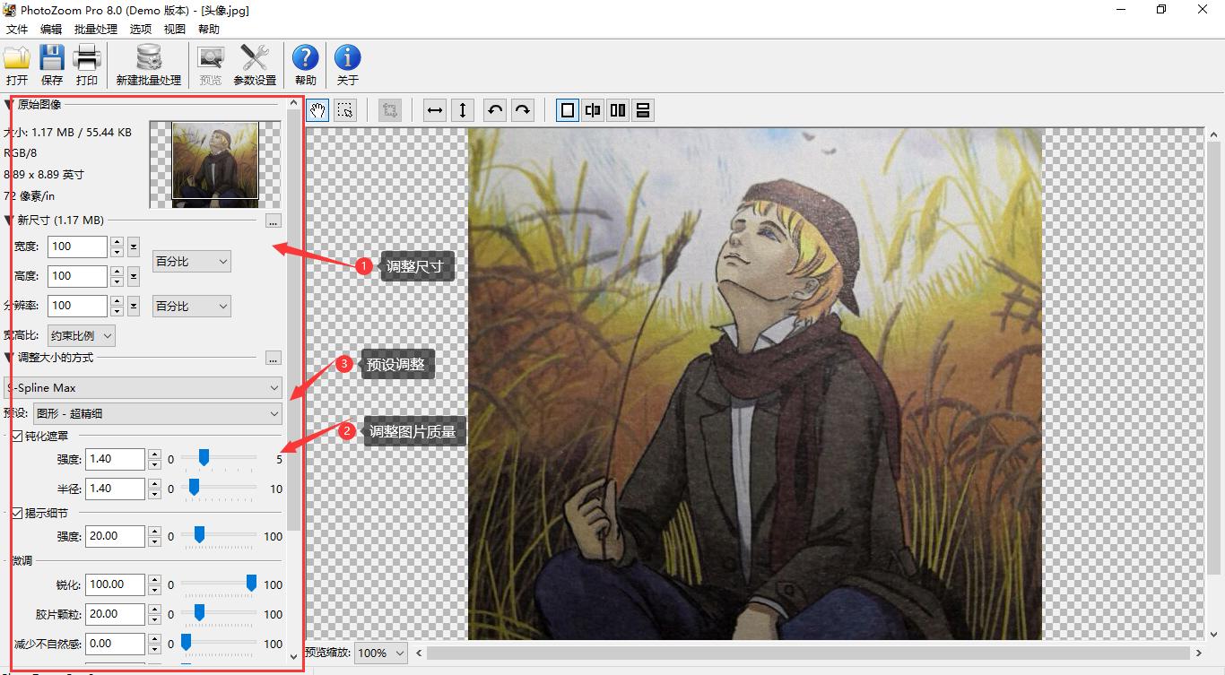 图 3:调节图片质量