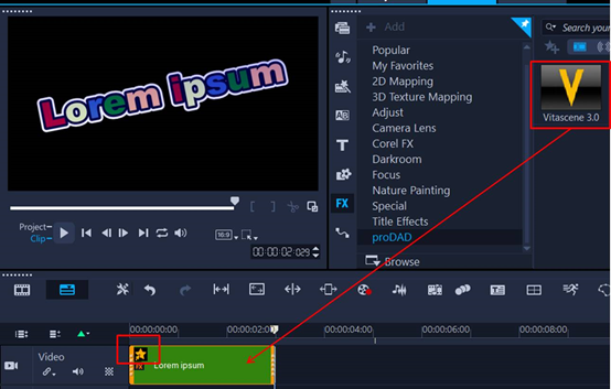 添加VitaScene V3滤镜特效