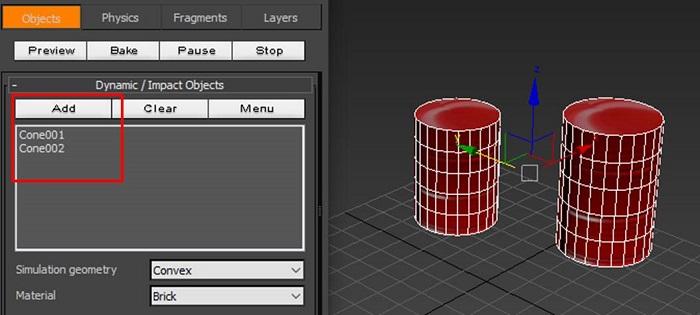 添加两个圆柱体为动态对象