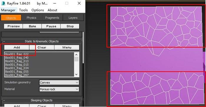 添加长方体两侧碎片为静态对象