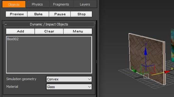 添加前方长方体为动态对象