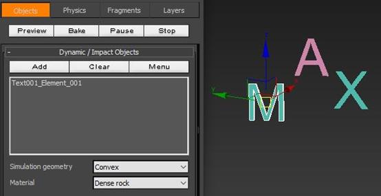 将字母M添加为动态对象