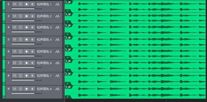 图10:选中八条和声音轨