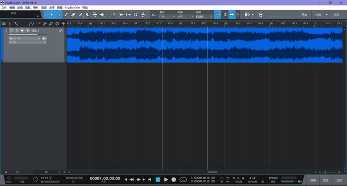 图1:Studio One导入歌曲后界面