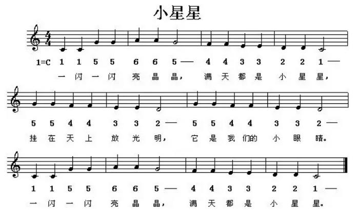 图2:小星星乐谱