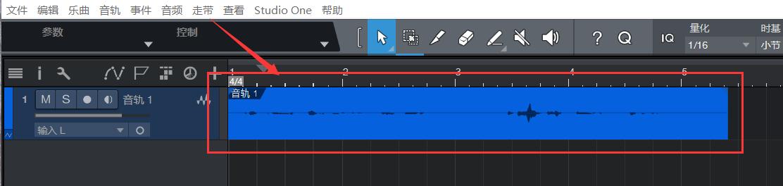 较弱的音频波动信号视图