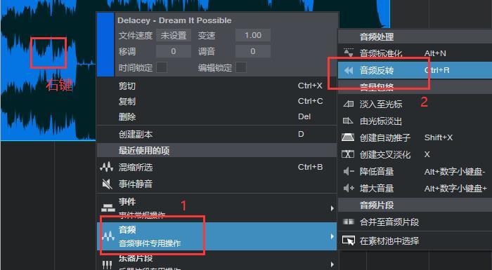 单击鼠标右键找到音频选项操作图