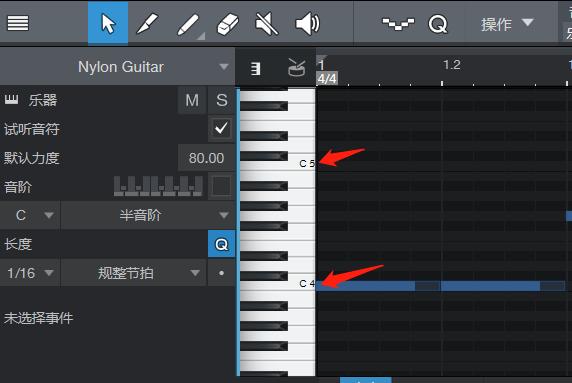 图3:Studio One钢琴键盘示意图