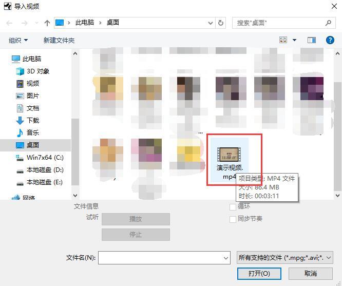 图3:选择想要导入的视频文件