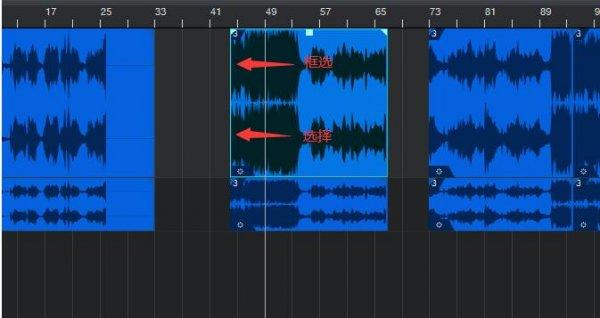 音频块上选择与框选工具