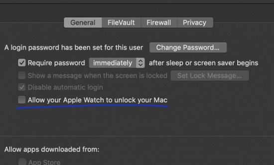 授予Apple Watch解锁权限
