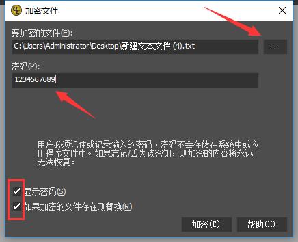 图 2:加密文件窗口