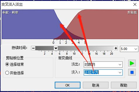 图6:goldwave中选择渐变曲线