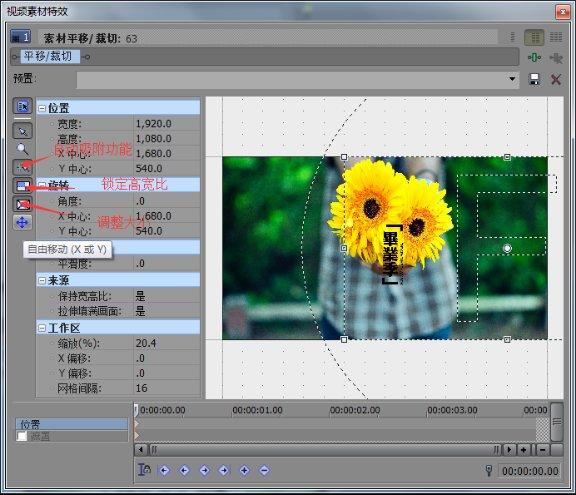 视频素材特效设置窗口