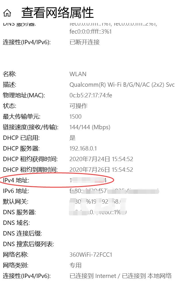 复制IPv4地址