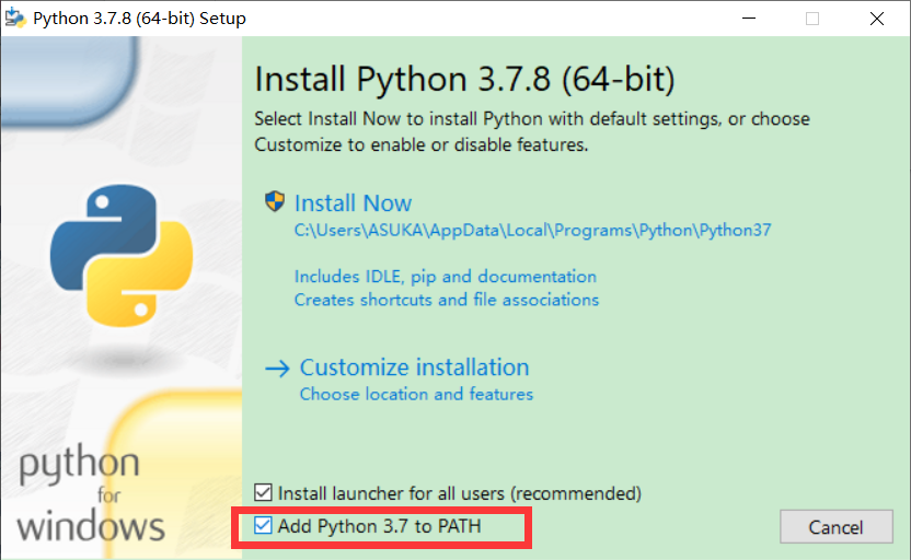 "图2:勾选""Add Python 3.7 to PATH"""
