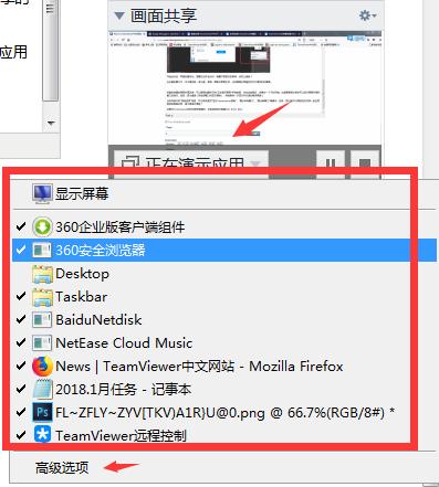 TeamViewer修改画面共享应用程序