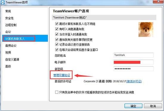 TeamViewer管理双重验证