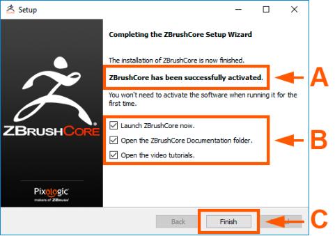 完成ZBrushCore安装
